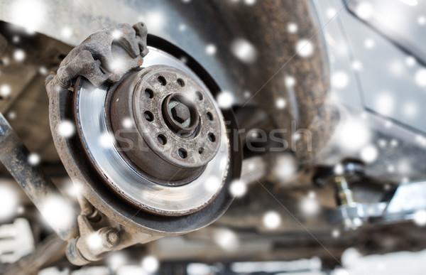 car brake disc at repair station over snow Stock photo © dolgachov