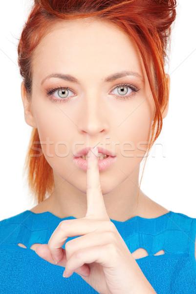 ストックフォト: 指 · 唇 · 明るい · 画像 · 若い女性 · 女性