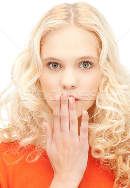 ладонями рот ярко портрет Сток-фото © dolgachov