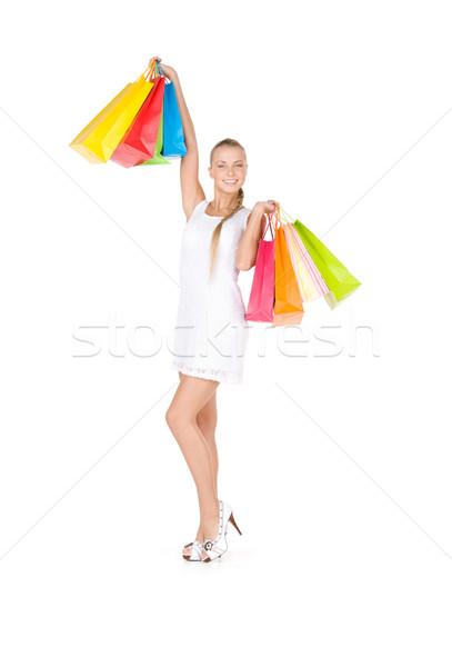 買い物客 女性 ショッピングバッグ 白 幸せ 小さな ストックフォト © dolgachov