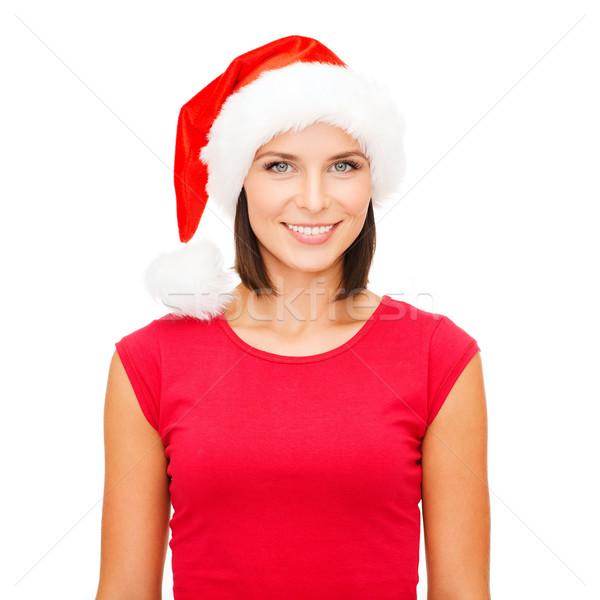 smiling woman in santa helper hat Stock photo © dolgachov