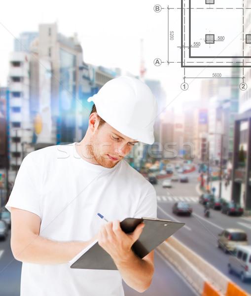 Stockfoto: Mannelijke · architect · naar · blauwdruk · gebouw · ontwikkelen