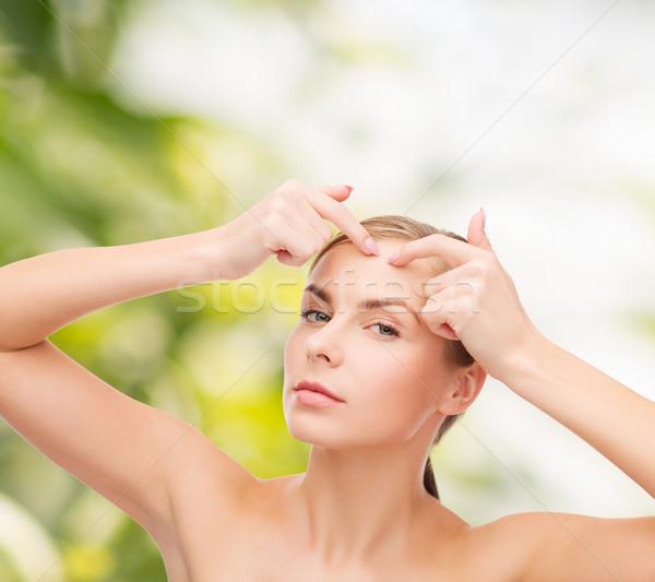 Genç kadın akne noktalar sağlık güzellik yüz Stok fotoğraf © dolgachov