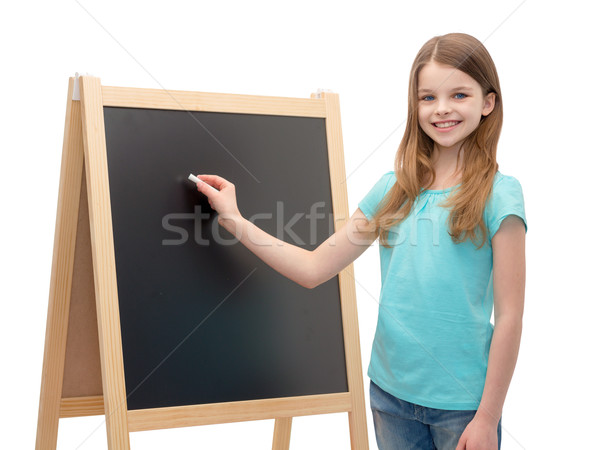 Gelukkig meisje Blackboard krijt mensen advertentie Stockfoto © dolgachov