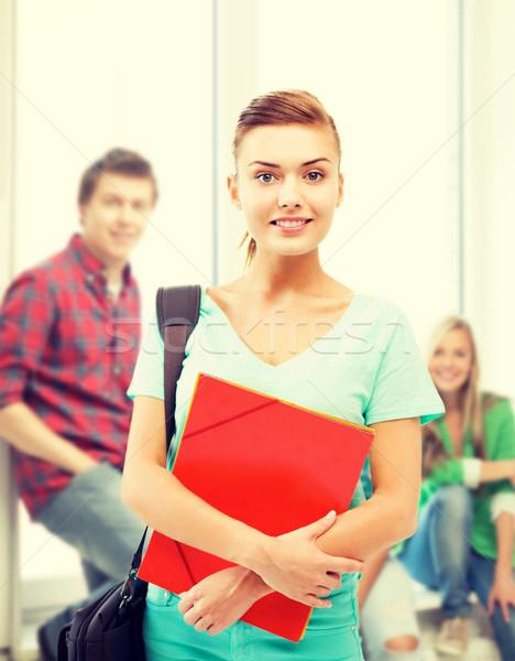 Stok fotoğraf: öğrenci · kız · klasörler · okul · çanta · eğitim