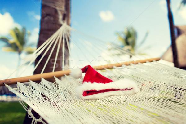 画像 ハンモック サンタクロース ヘルパー 帽子 休暇 ストックフォト © dolgachov