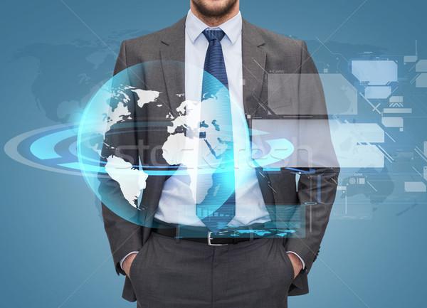 Işadamı mavi iş adamları global bağlantı Stok fotoğraf © dolgachov