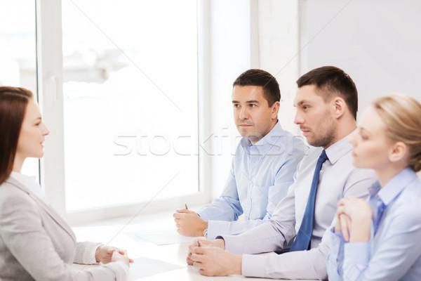 Zakenvrouw interview kantoor business carriere sollicitatiegesprek Stockfoto © dolgachov