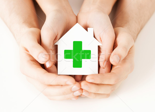 hands holding paper house with green cross Stock photo © dolgachov