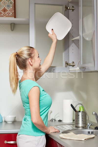 Boldog nő tányér konyhaszekrény emberek házimunka Stock fotó © dolgachov