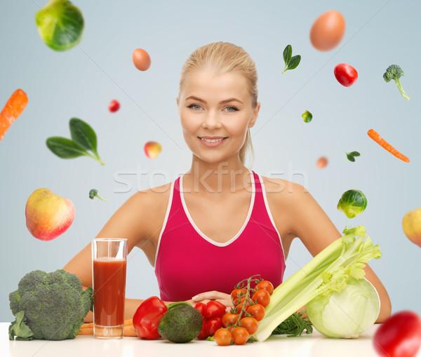 幸せ 女性 精進料理 ビタミン 人 健康的な食事 ストックフォト © dolgachov