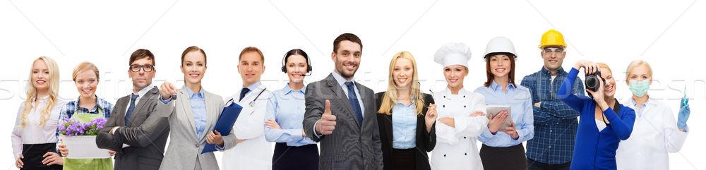Feliz empresário profissional trabalhadores pessoas profissão Foto stock © dolgachov