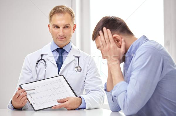 Orvos beteg kardiogram vágólap gyógyszer egészségügy Stock fotó © dolgachov