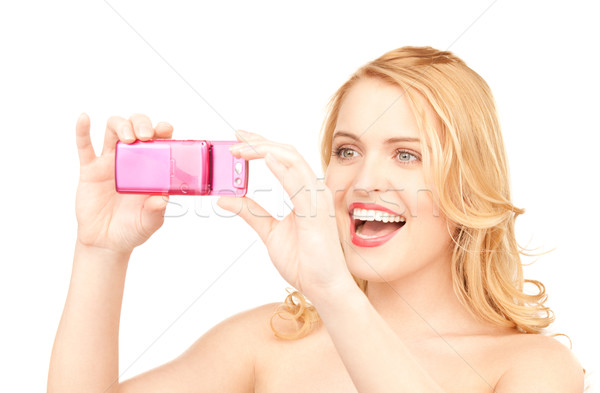 Stock foto: Glücklich · Frau · Telefon · Kamera · Bild · Gesicht