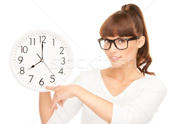 Stockfoto: Vrouw · groot · klok · foto · witte