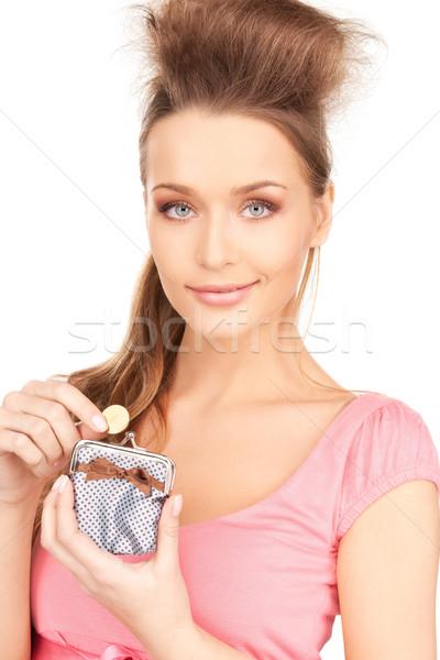 женщину кошелька деньги фотография улыбка лице Сток-фото © dolgachov