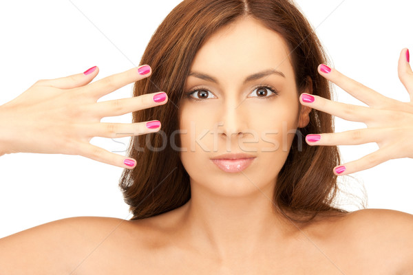 lovely woman with polished nails  Stock photo © dolgachov