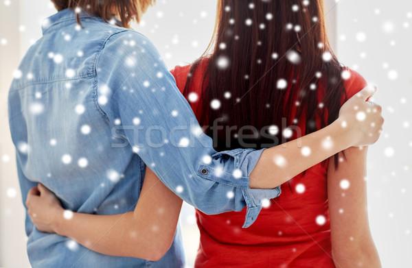 Közelkép boldog leszbikus pár ölel otthon Stock fotó © dolgachov