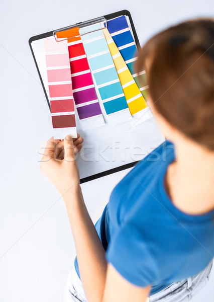 Kadın çalışma renk iç mimari Stok fotoğraf © dolgachov