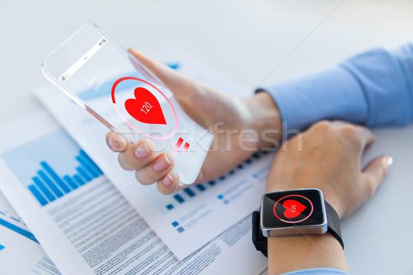 Eller kalp ikon teknoloji sağlık Stok fotoğraf © dolgachov