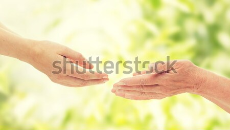 close up of lesbian couple hands with wedding ring Stock photo © dolgachov