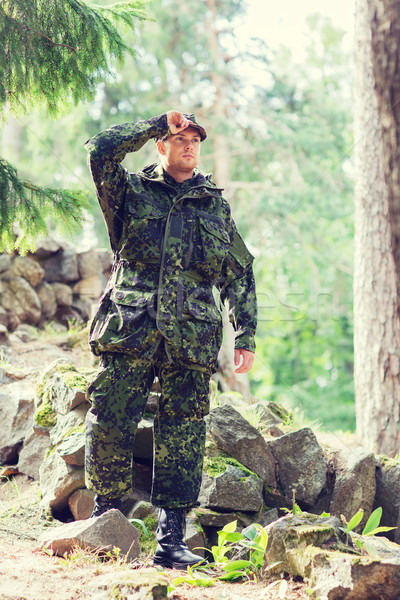 Genç asker orman savaş ordu insanlar Stok fotoğraf © dolgachov