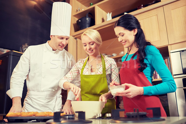 happy women and chef cook baking in kitchen Stock photo © dolgachov