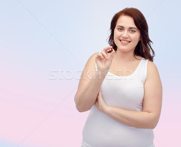 Boldog plus size nő alsónemű tabletta fogyókúra Stock fotó © dolgachov