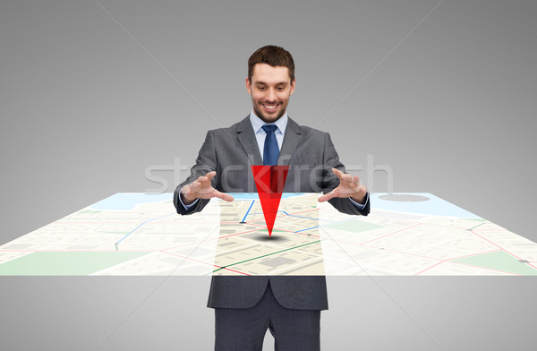 businessman working with virtual gps navigator map Stock photo © dolgachov
