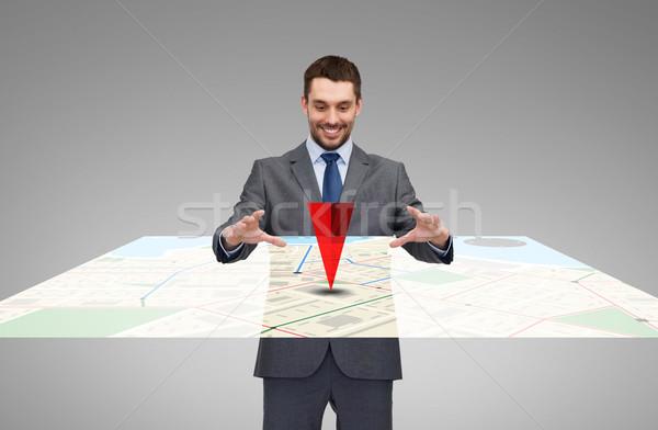 Imprenditore lavoro virtuale GPS mappa business Foto d'archivio © dolgachov