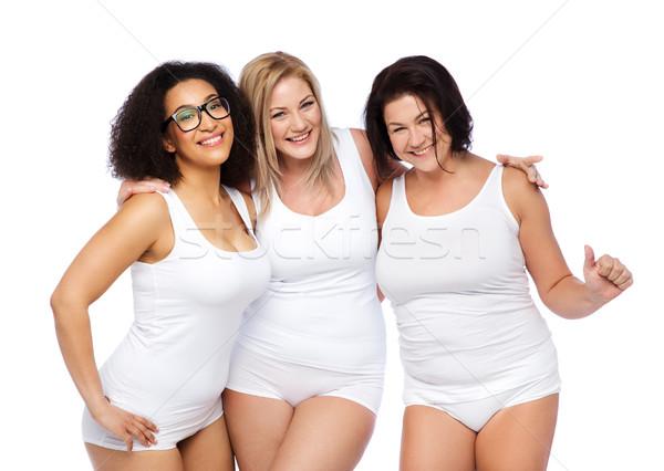 グループ 幸せ プラスサイズ 女性 白 下着 ストックフォト © dolgachov