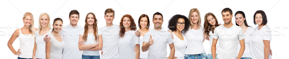 group of happy different people in white t-shirts Stock photo © dolgachov