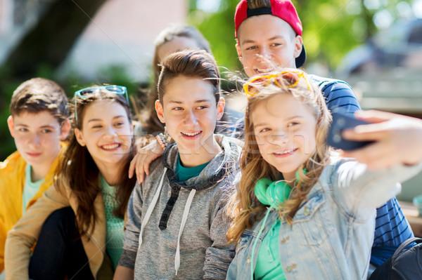 Stock fotó: Boldog · tini · diákok · elvesz · okostelefon · oktatás
