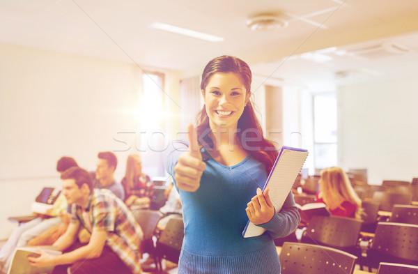 Gruppe lächelnd Studenten Vortrag Halle Bildung Stock foto © dolgachov