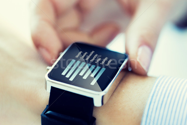 close up of hands with chart on smartwatch screen Stock photo © dolgachov