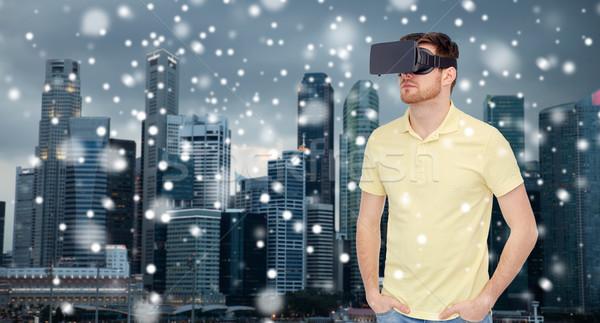 человека виртуальный реальность гарнитура 3d очки технологий Сток-фото © dolgachov