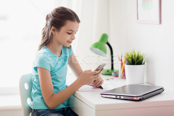 girl with laptop and smartphone texting at home Stock photo © dolgachov