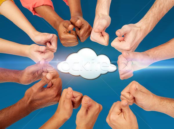 Ręce chmura icon computing danych Zdjęcia stock © dolgachov