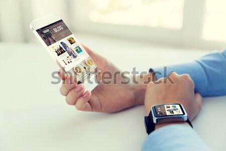 Frau Smartphone Bluttest Medizin Diabetes Stock foto © dolgachov