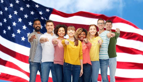 international group of people pointing on you Stock photo © dolgachov