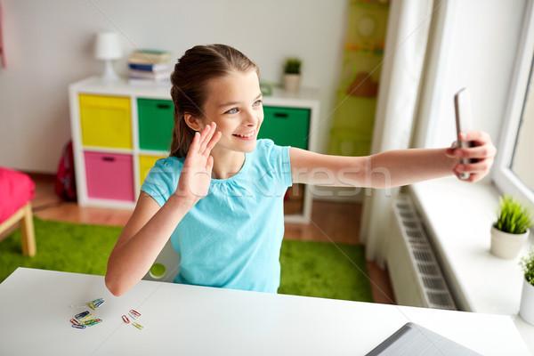 счастливая девушка смартфон домой люди детей Сток-фото © dolgachov