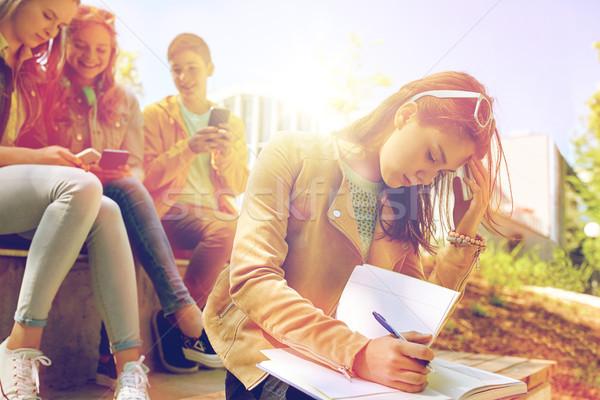 student girl suffering of classmates mockery Stock photo © dolgachov