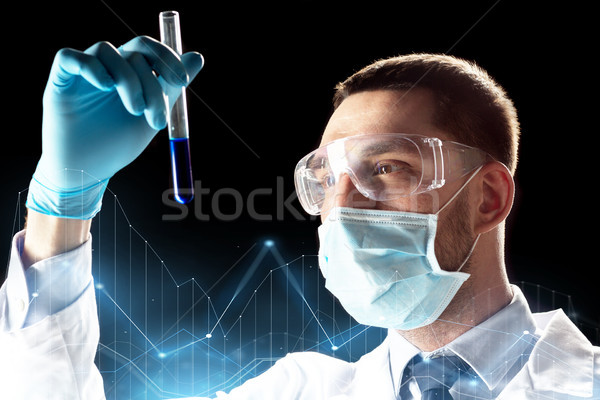 scientist with safety glasses, mask and test tube Stock photo © dolgachov
