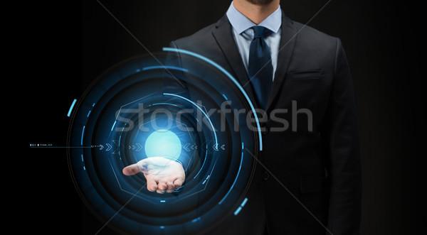 бизнесмен виртуальный проекция черный бизнеса будущем Сток-фото © dolgachov