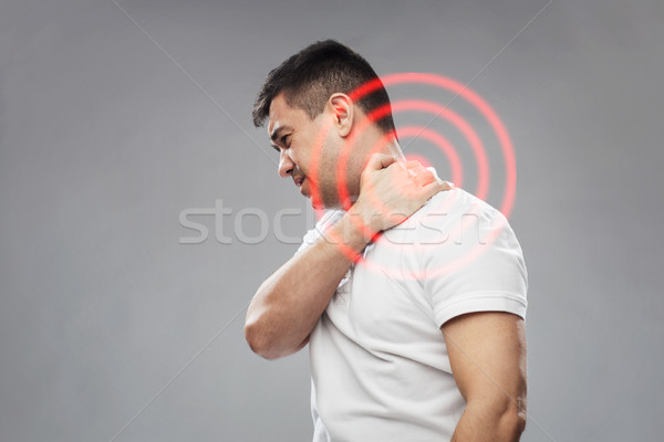 Nieszczęśliwy człowiek cierpienie ból szyi ludzi opieki zdrowotnej Zdjęcia stock © dolgachov