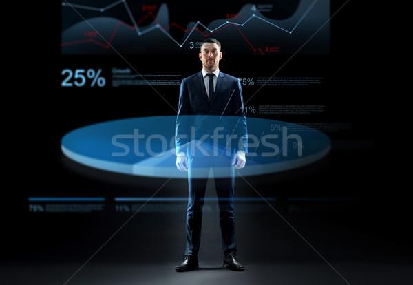 üzletember öltöny virtuális diagram hologram üzletemberek Stock fotó © dolgachov