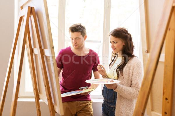 Schilderij kunst school creativiteit onderwijs mensen Stockfoto © dolgachov