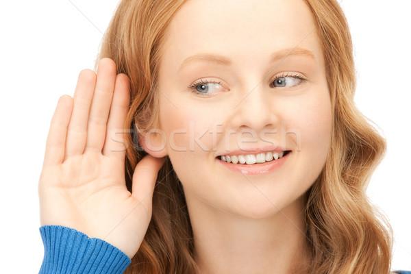 Dedikodu parlak resim genç kadın dinleme kadın Stok fotoğraf © dolgachov
