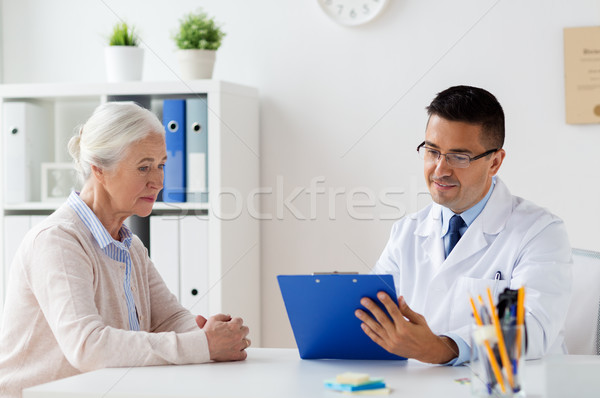 старший женщину врач заседание больницу медицина Сток-фото © dolgachov