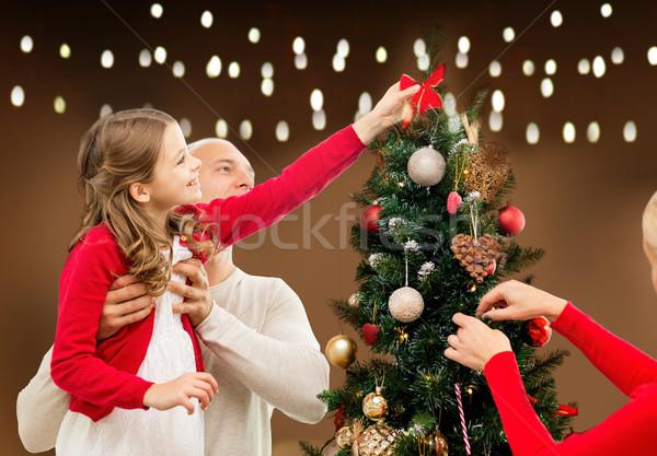 Boldog család karácsonyfa otthon család ünnepek emberek Stock fotó © dolgachov